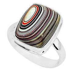 925 silver 6.85cts fordite detroit agate solitaire ring jewelry size 7.5 r92797