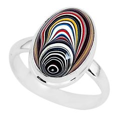 925 silver 6.56cts fordite detroit agate solitaire handmade ring size 8.5 r92811