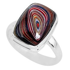925 silver 6.70cts fordite detroit agate solitaire handmade ring size 8.5 r92818