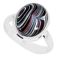925 silver 4.82cts fordite detroit agate solitaire handmade ring size 8.5 r92837