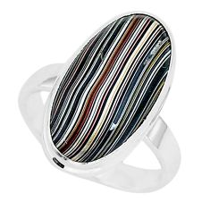 925 silver 6.85cts fordite detroit agate solitaire ring jewelry size 8 r92799