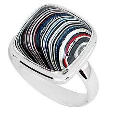925 silver 7.65cts fordite detroit agate solitaire handmade ring size 8 r92899