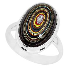 925 silver 7.24cts fordite detroit agate solitaire ring jewelry size 9 r92788