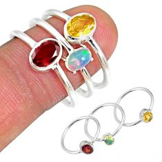 925 silver 3.42cts garnet ethiopian opal citrine stackable ring size 7 r59956