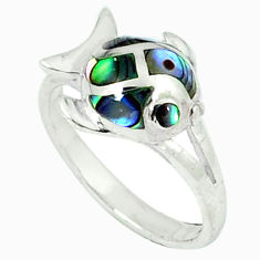 925 silver green abalone paua seashell enamel fish ring size 5.5 c12971