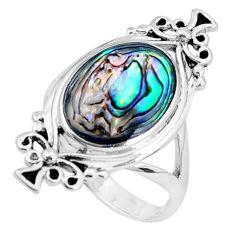 925 silver 6.26gms green abalone paua seashell enamel ring jewelry size 8 c12785