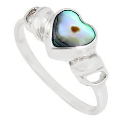 925 silver 2.02gms green abalone paua seashell heart ring size 8.5 c21952