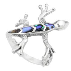 925 silver 3.26gms green abalone paua seashell lizard ring size 6 a92037 c13247