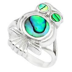 925 silver 6.26gms green abalone paua seashell owl ring size 5.5 a88533 c13462