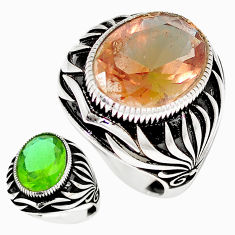 11.36cts green alexandrite (lab) 925 sterling silver mens ring size 10.5 c11152