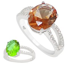 925 silver 5.42cts green alexandrite (lab) oval white topaz ring size 8 c23300