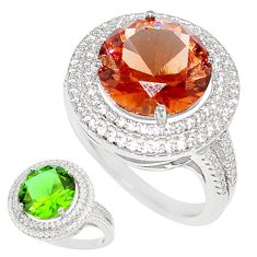 925 silver 14.50cts green alexandrite (lab) topaz solitaire ring size 8 c23299