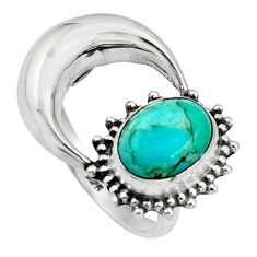 925 silver 3.26cts green arizona mohave turquoise half moon ring size 7 r26753