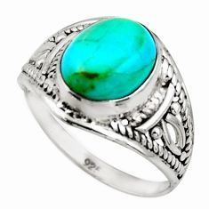 925 silver 3.72cts green arizona mohave turquoise solitaire ring size 6.5 r35484