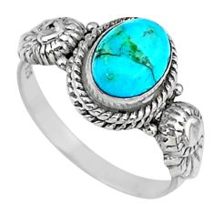 925 silver 1.96cts green arizona mohave turquoise solitaire ring size 6.5 r57368