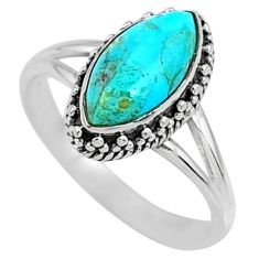 925 silver 2.57cts green arizona mohave turquoise solitaire ring size 7.5 r57389