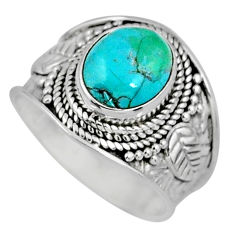 925 silver 4.06cts green arizona mohave turquoise solitaire ring size 7.5 r58012