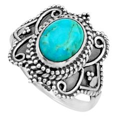 925 silver 3.46cts green arizona mohave turquoise solitaire ring size 7 r26788