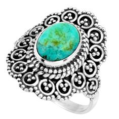 925 silver 3.13cts green arizona mohave turquoise solitaire ring size 7 r26932