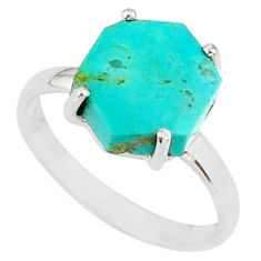 925 silver 4.86cts green arizona mohave turquoise solitaire ring size 8 r81884