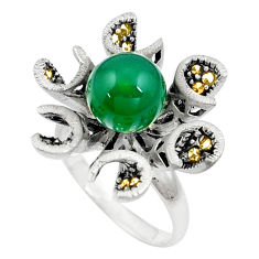 925 silver green chalcedony marcasite solitaire ring jewelry size 6.5 c17508
