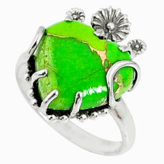 925 silver 11.74cts green copper turquoise heart ring jewelry size 9 r67535