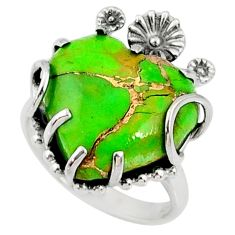 925 silver 11.07cts green copper turquoise heart solitaire ring size 6.5 r67487