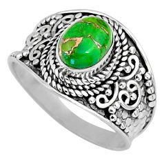 925 silver 2.05cts green copper turquoise round solitaire ring size 8 r58544