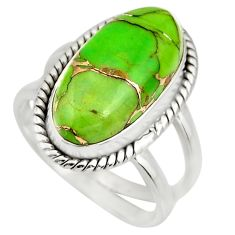 925 silver 6.26cts green copper turquoise solitaire ring jewelry size 7.5 r27174