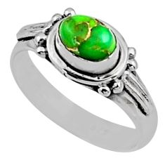 925 silver 1.30cts green copper turquoise solitaire ring jewelry size 7 r54408