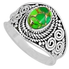 925 silver 2.08cts green copper turquoise solitaire ring jewelry size 7 r57924