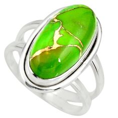 925 silver 6.26cts green copper turquoise solitaire ring jewelry size 8 r27178