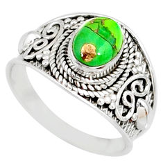 925 silver 1.99cts green copper turquoise solitaire handmade ring size 8 r81491