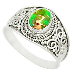 925 silver 1.94cts green copper turquoise solitaire handmade ring size 9 r81513