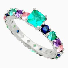 925 silver 5.22cts green emerald (lab) sapphire (lab) ring size 7.5 c9075