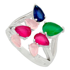 925 silver 5.63cts green emerald (lab) sapphire (lab) ring jewelry size 6 c9151