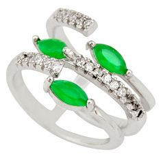 925 silver 3.28cts green emerald (lab) topaz adjustable ring size 3.5 c9176
