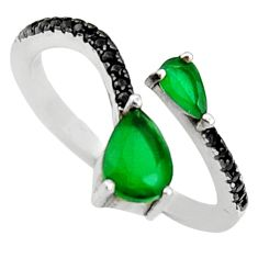 925 silver 2.73cts green emerald (lab) topaz adjustable ring size 6 c9411