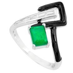 925 silver 2.23cts green emerald (lab) topaz enamel solitaire ring size 8 c23580