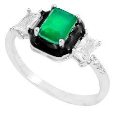 925 silver 3.65cts green emerald (lab) topaz enamel solitaire ring size 9 c23566