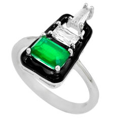 925 silver 3.62cts green emerald (lab) white topaz enamel ring size 7 c23564