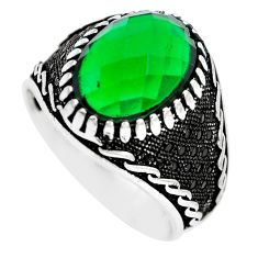 7.55cts green emerald quartz topaz 925 sterling silver mens ring size 11 c11508