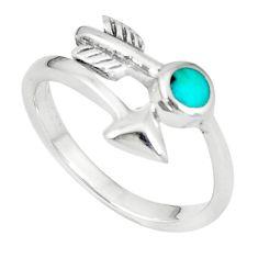 925 silver green kingman turquoise enamel ring jewelry size 7.5 c10681