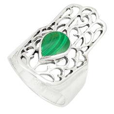 925 silver green malachite (pilot's stone) hand of god hamsa ring size 7 c12734