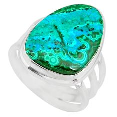 925 silver 13.27cts green malachite in chrysocolla solitaire ring size 7 r83527