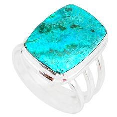 925 silver 10.66cts green malachite in chrysocolla solitaire ring size 8 r83550