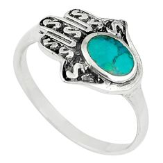 925 silver green norwegian turquoise hand of god hamsa ring size 9.5 c21958