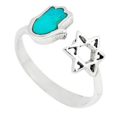 925 silver green turquoise tibetan adjustable ring jewelry size 6 c10745