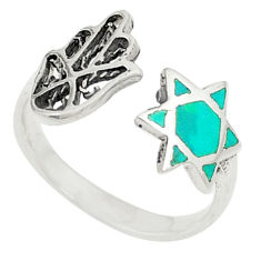 925 silver green turquoise tibetan adjustable ring jewelry size 6 c26153