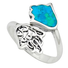 925 silver green turquoise tibetan adjustable ring jewelry size 9 c10724